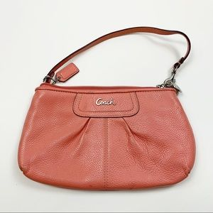 Coach Orange Small Zip Hand Bag Purse Clutch 3483